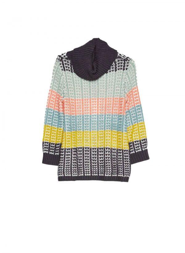 Camisola gola alta com riscas coloridas para mulher da Md`m