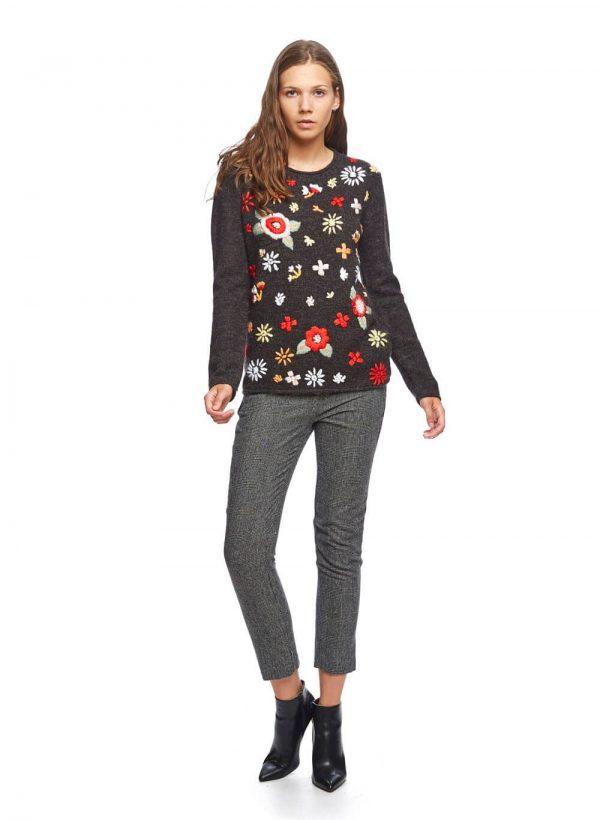Camisola cinza escura com flores bordadas para mulher da Md`m