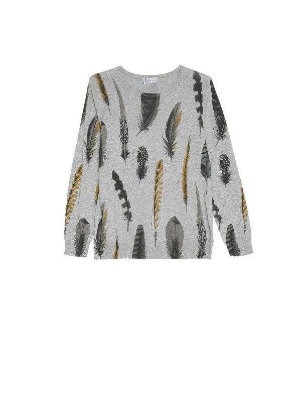 Camisola cinza com print folhas para mulher da Md`m