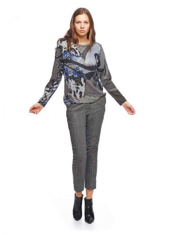 Camisola cinza com print abstrato azul para mulher da Md`m