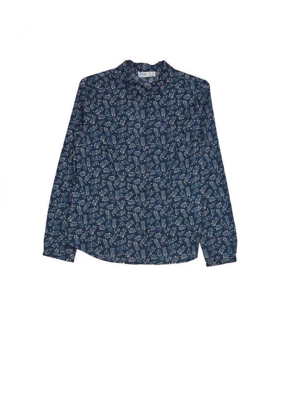Camisa azul marino com folhas para mulher da Md`m