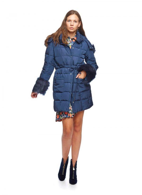 Parka azul com pelo no capuz para mulher da Md`m