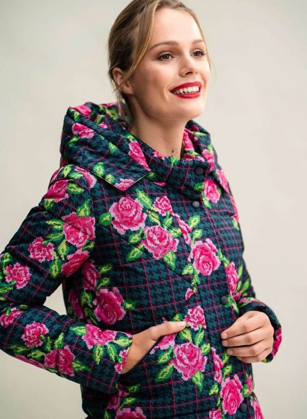 Parka comprida com print floral para mulher da Rosalita Mc Gee