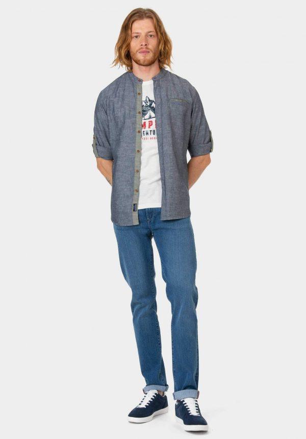 Camisa azul com pé de gola para homem da Tiffosi