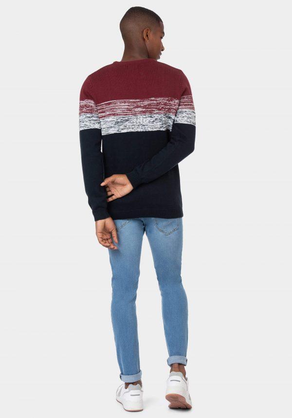 Camisola azul com risca bordô e branco para homem da Tiffosi