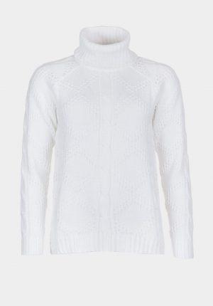 Camisola branca de gola alta para mulher da Tiffosi