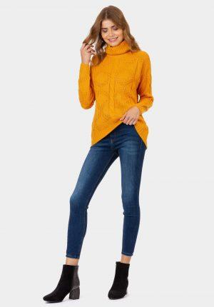 Camisola amarela de gola alta para mulher da Tiffosi