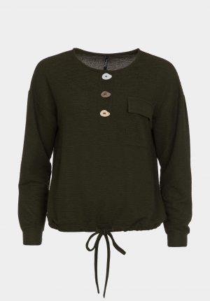 Camisola verde com botões irregulares para mulher da Tiffosi
