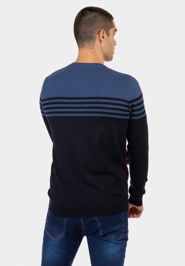 Camisola decote redondo c/ risca azul para homem da Tiffosi