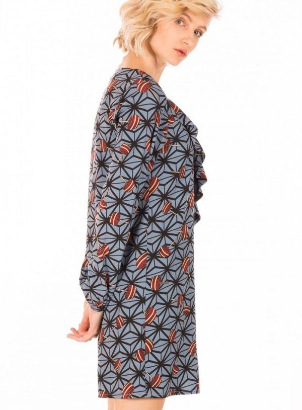 Vestido com print piões para mulher da Minueto