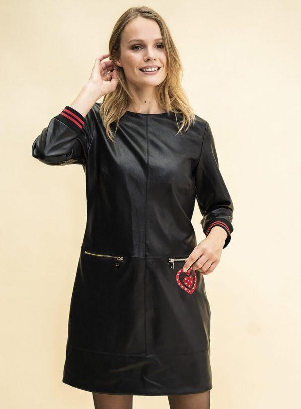 Vestido preto de napa com coração para mulher da Rosalita Mc Gee