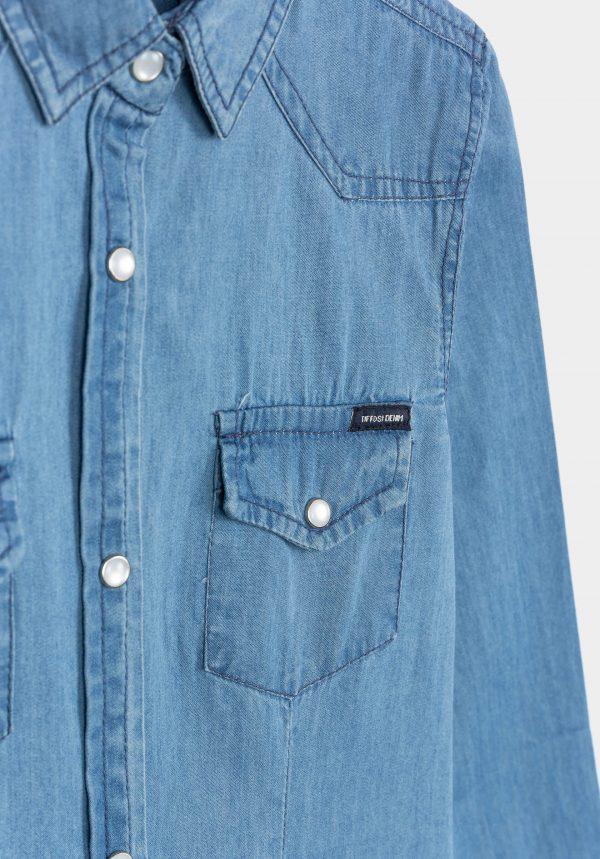Camisa de ganga clara para menina da Tiffosi