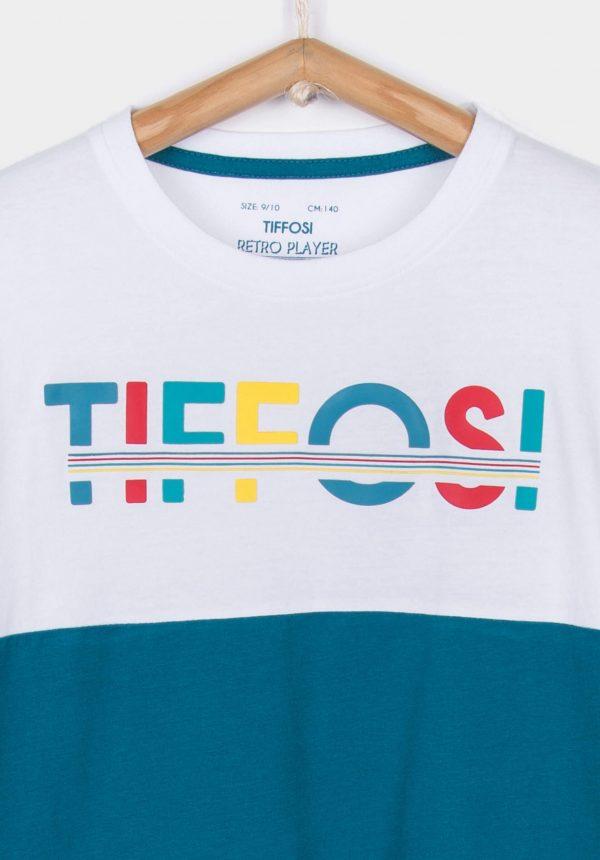 T-shirt bicolor texto relevo para menino da Tiffosi
