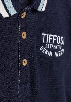 Polo de jacquard azul para menino da Tiffosi