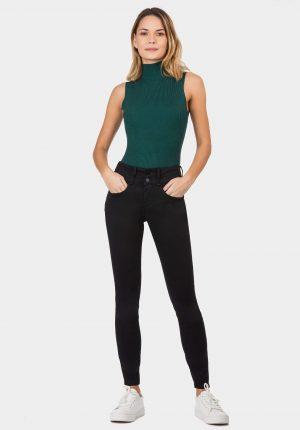Calça preta double up para mulher da Tiffosi