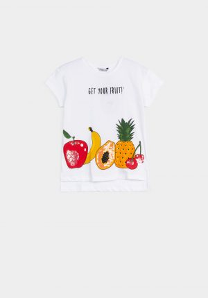 T-shirt branca com print fruta para menina da Tiffosi