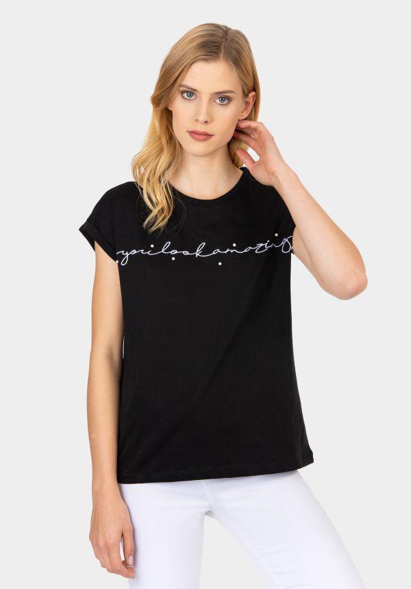 T-shirt preta com bordado na frente para mulher da Tiffosi