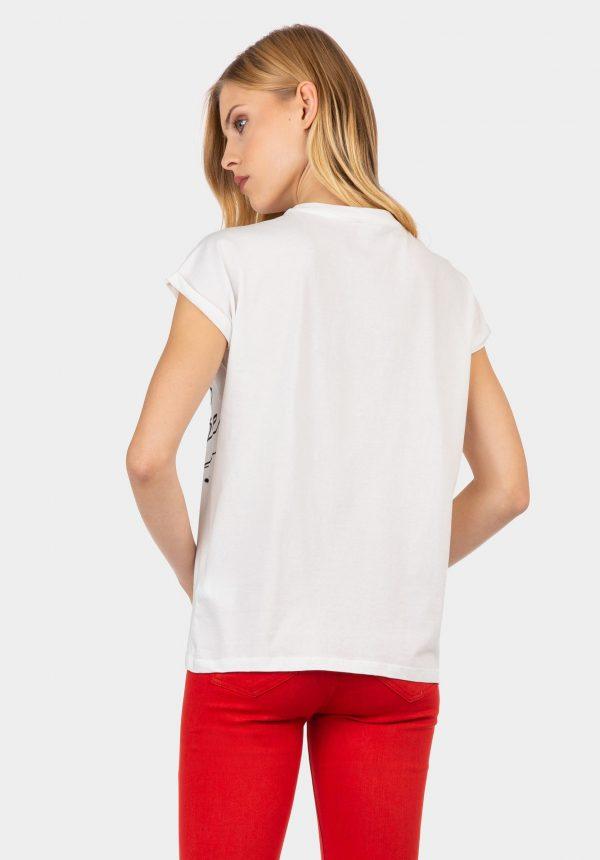 T-shirt branca com bordado na frente para mulher da Tiffosi