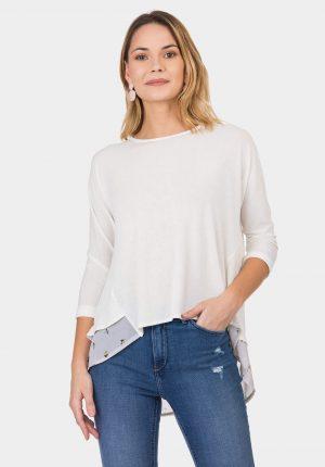Camisola branca com traçado para mulher da Tiffosi