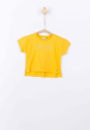T-shirt amarela curta com texto para menina da Tiffosi