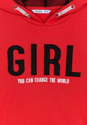 Hoodie vermelho com texto bordado para menina da Tiffosi
