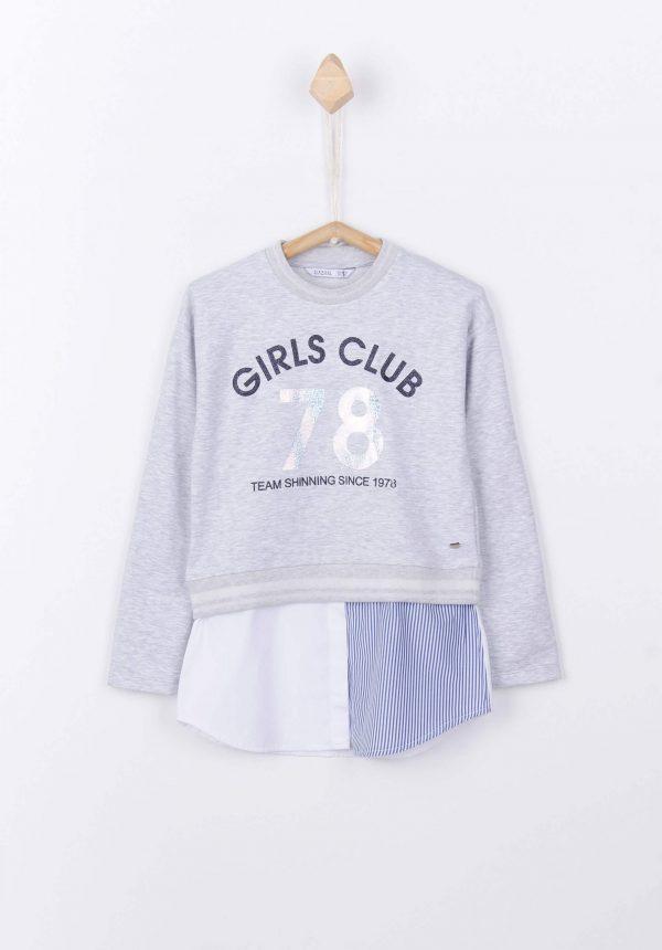 Sweatshirt combinada c/ texto para menina da Tiffosi