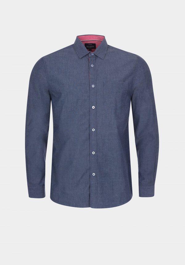 Camisa fil-à-fil azul regular fit para homem da Tiffosi