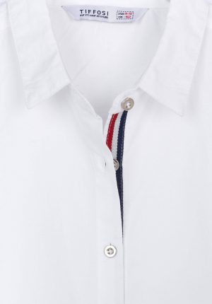 Camisa branca com franzido para menina da Tiffosi