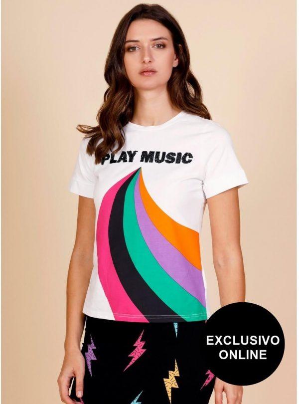 T-shirt play music branca para mulher da Minueto