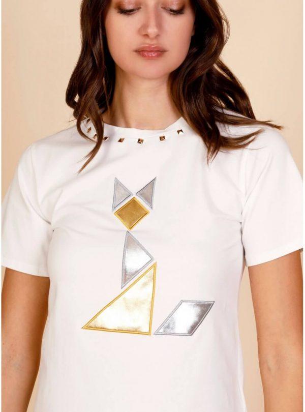 T-shirt branca gato para mulher da Minueto