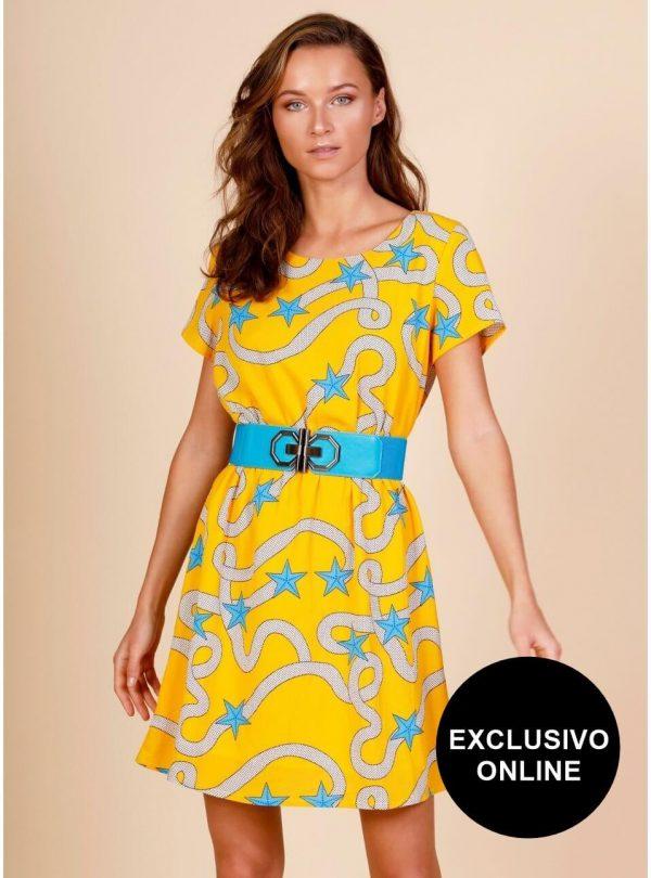 Vestido yellow sailor para mulher da Minueto