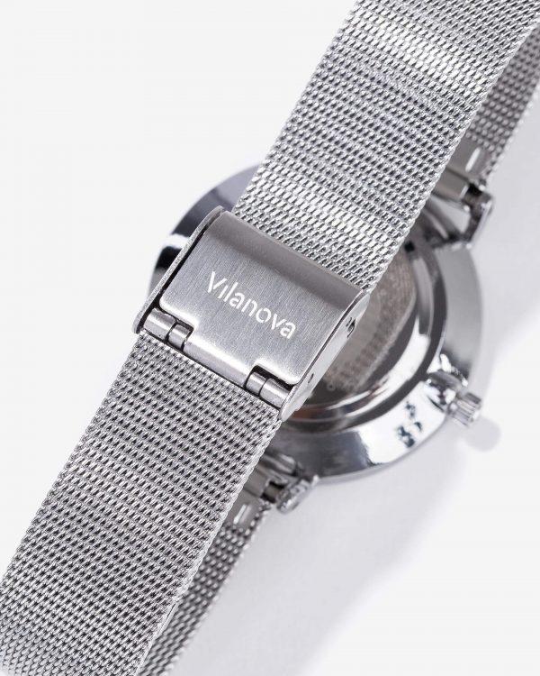 Relógio prata com mostrador cinza para mulher da Vilanova