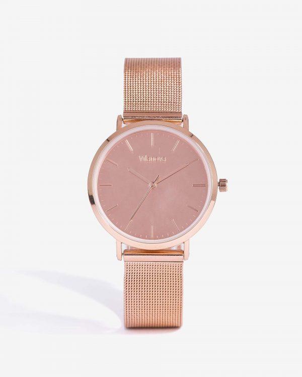 Relógio cobre com bracelete metálica para mulher da Vilanova