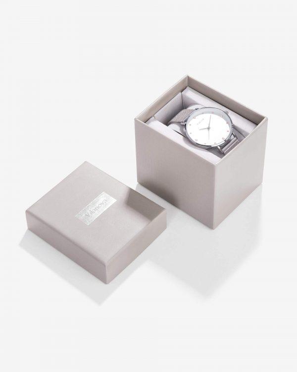 Relógio prata com mostrador branco para mulher da Vilanova