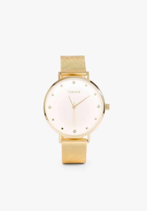 Relógio dourado com mostrador claro para mulher da Vilanova
