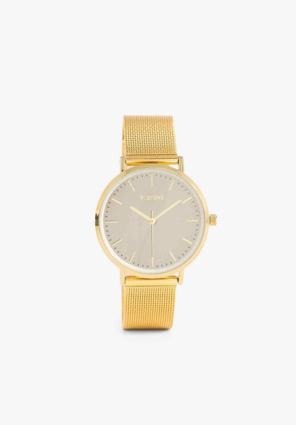 Relógio dourado com mostrador cinza para mulher da Vilanova