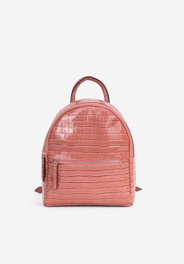 Mochila rosa com efeito reptil para mulher da Vilanova