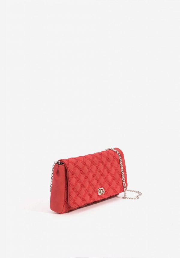 Clutch vermelho com alça metálica para mulher da Vilanova
