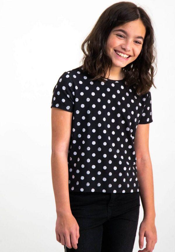 T-shirt preta com bolas para menina da Garcia Jeans
