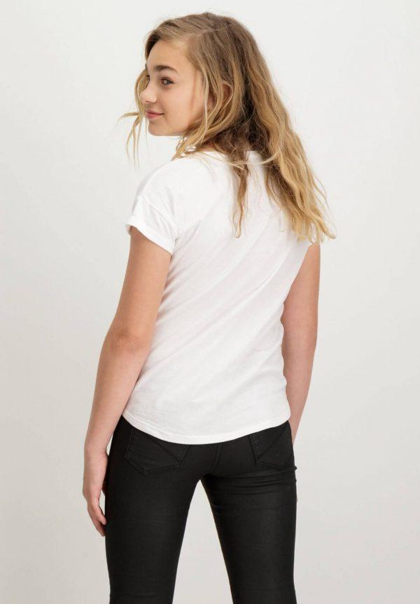 T-shirt branca com texto vermelho para menina da Garcia Jeans