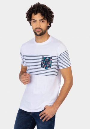 T-shirt branca c/ bolso printado para homem da Tiffosi