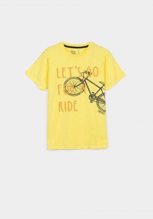 T-shirt amarela c/ bike para menino da Tiffosi