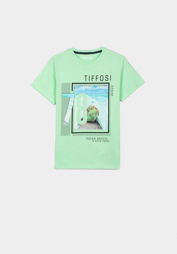 T-shirt verde c/ estampa para menino da Tiffosi