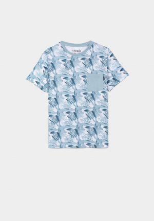 T-shirt estampado tropical azul para menino da Tiffosi