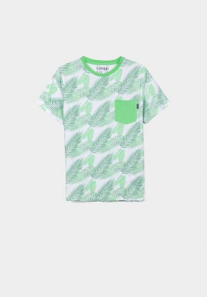 T-shirt estampado tropical verde para menino da Tiffosi