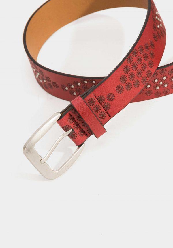 Cinto bordô com tachas para mulher da Tiffosi