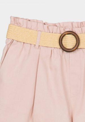 Calções rosa c/ cinto palha para mulher da Tiffosi
