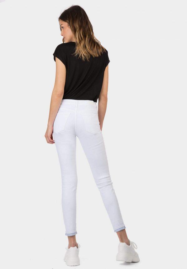 Calças nicky brancas cintura média para mulher da Tiffosi