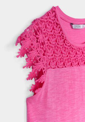 T-shirt rosa c/ renda para menina da Tiffosi