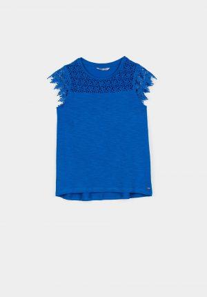 T-shirt azul c/ renda para menina da Tiffosi